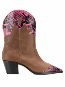 Paris Texas leather cowboy boots - Brown