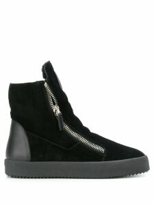 Giuseppe Zanotti shearling lined hi-top sneakers - Black