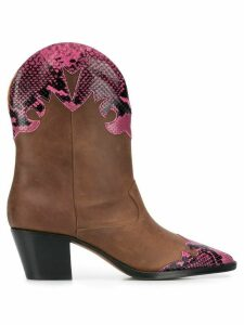 Paris Texas cowboy style ankle boots - Brown