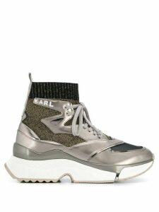 Karl Lagerfeld metallized pull-on sneakers - SILVER