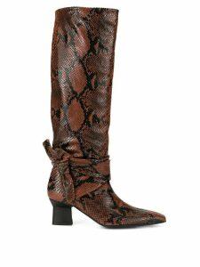 Rosetta Getty snake-effect knee boots - Brown