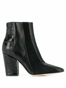 Sergio Rossi crocodile effect boots - Black