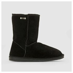 Snow Fur-Lined Leather Ankle Boots