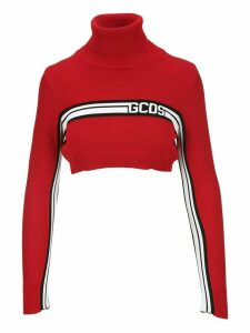Gcds High Neck Cropped Knit Sweater