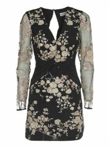 self-portrait Sequins Floral Embroidery Dress With Long Sleeves