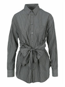 Mm6 Tied Waist Striped Shirt