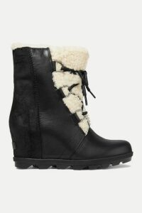 Sorel - Joan Of Arctic Wedge Ii Shearling-trimmed Waterproof Leather And Suede Ankle Boots - Black