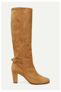 Alexandre Birman - Rachel Bow-embellished Suede Knee Boots - Tan