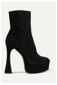 Amina Muaddi - Dua Suede Platform Ankle Boots - Black