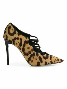 Valentino Garavani Mighty Crisscross Leopard Print Calf Hair Pumps