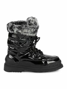 Faux Fur-Trim Lace-Up Boots