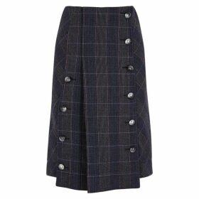 Chloé Navy Checked Wool-blend Skirt