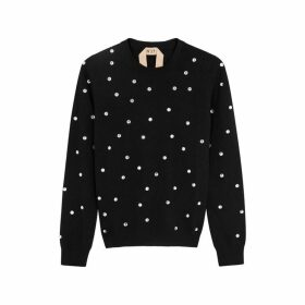 No.21 Black Crystal-embellished Wool Jumper