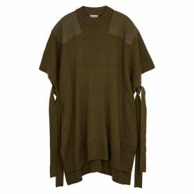 HYKE Command Olive Wool-blend Poncho