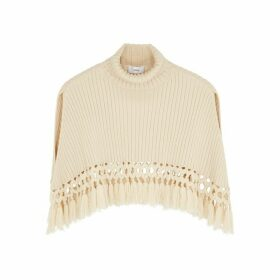 HYKE Command Cream Wool-blend Cape