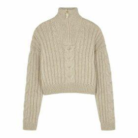 Nanushka Eria Ecru Cropped Knitted Jumper