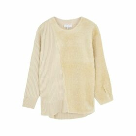 HYKE Command Cream Panelled Jumper