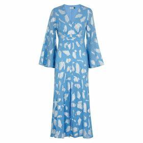 RIXO Indra Leaf-jacquard Georgette Midi Dress