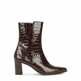 Flattered Teddy 65 Crocodile-effect Leather Ankle Boots