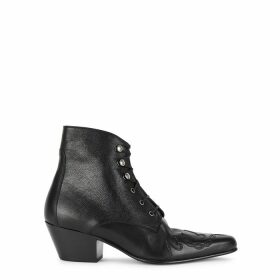 Saint Laurent Susan 50 Black Leather Ankle Boots
