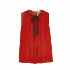 No.21 Red Pleated Crepe Blouse