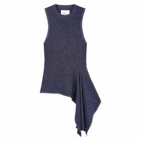 3.1 Phillip Lim Navy Asymmetric Stretch-knit Top