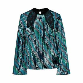 RIXO Hazel Striped Sequin Blouse