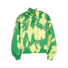 Off-White Tie-dyed Cut-out Cotton Sweatshirt