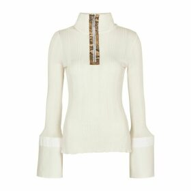 Ellery Arcade Ivory Stretch-knit Top