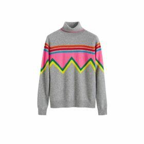 Chinti & Parker Grey Ski Slope Wool-cashmere Roll Neck Sweater
