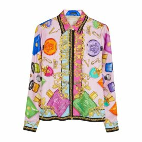 Young Versace Printed Silk Twill Shirt