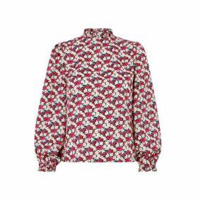 Kitri Teresa Floral Print Frill Collar Top