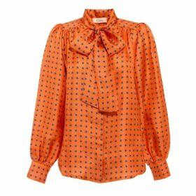 Lisou Peony Tie-neck Silk Shirt