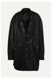 Rick Owens - Larry Oversized Leather Shirt - Black