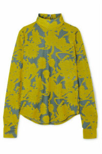 Jil Sander - Floral Stretch-jacquard Turtleneck Top - Yellow