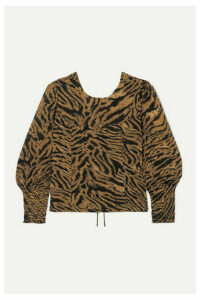 GANNI - Open-back Tiger-print Georgette Blouse - Brown