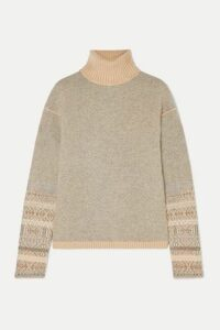 Loro Piana - Fair Isle Cashmere Turtleneck Sweater - Light gray