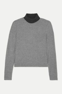 LESET - Lori Two-tone Brushed Stretch-knit Turtleneck Sweater - Gray