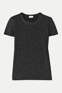 LESET - Sasha Metallic Striped Stretch-jersey T-shirt - Silver