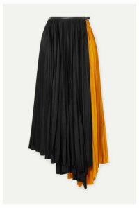 Proenza Schouler - Asymmetric Two-tone Pleated Jersey Wrap Skirt - Black