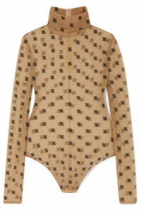 Fendi - Embroidered Tulle Turtleneck Bodysuit - Sand