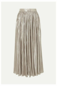 Saloni - Camille Pleated Metallic Jersey Midi Skirt - Silver
