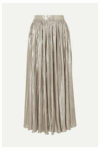 Saloni - Camille Pleated Metallic Jersey Midi Skirt - Silver