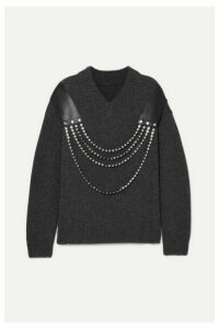Christopher Kane - Oversized Embellished Leather-trimmed Wool Sweater - Gray
