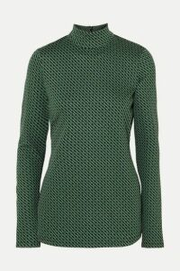 Diane von Furstenberg - Kasen Stretch-jacquard Turtleneck Top - Green