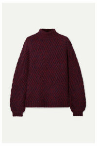 Victoria, Victoria Beckham - Mélange Wool-blend Turtleneck Sweater - Burgundy