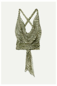 Cloe Cassandro - Santi Cropped Zebra-print Silk-crepon Wrap Top - Army green