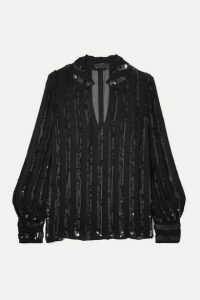 Nili Lotan - Anette Striped Sequined Chiffon Blouse - Black