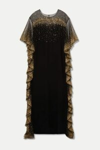 Marchesa - Ruffled Sequined Tulle-trimmed Cady Gown - Black