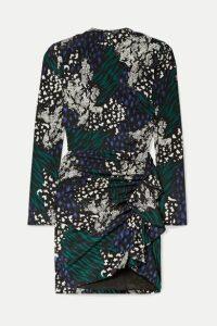 Veronica Beard - Louella Ruffled Animal-print Stretch-silk Crepe De Chine Mini Dress - Black